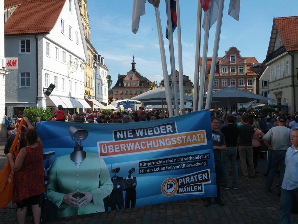 Demonstration gegen Angela Merke in Schwäbisch Gmünd
